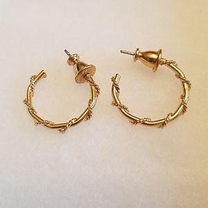 "Vintage Gold ""Bamboo"" pierced earrings"